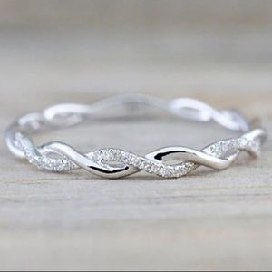 White Gold Delicate Twisted Eternity Band Ring